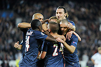 FOOTBALL - UEFA CHAMPIONS LEAGUE 2012/2013 - GROUP STAGE - GROUP A - PARIS SAINT GERMAIN v DYNAMO KIEV - 18/09/2012 - PHOTO JEAN MARIE HERVIO / REGAMEDIA / DPPI - JOY THIAGO SILVA (PSG) AFTER HIS GOAL WITH TEAM MATES