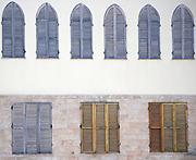 Israel, Jaffa wooden blinds on closed windows
