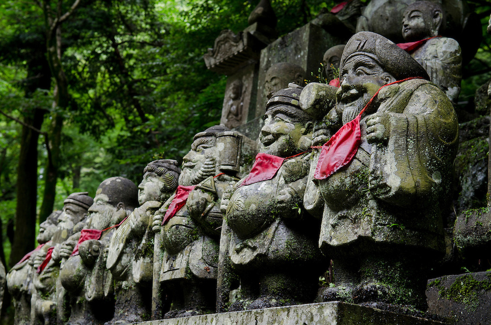 Jizoh (small gods) statues at the base of Mt Takao near Tokyo, Japan, Friday, June 03, 2011. Credit:SNPA/David Alexander