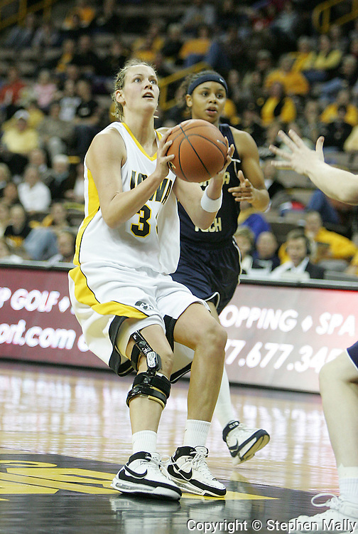 28 NOVEMBER 2007: Iowa forward Johanna Solverson (34) puts up a shot in the first half of Georgia Tech's 76-57 win over Iowa in the Big Ten/ACC Challenge at Carver-Hawkeye Arena in Iowa City, Iowa on November 28, 2007.