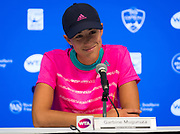 Garbine Muguruza of Spain talks to the press after losing her second-round match at the 2018 Western and Southern Open WTA Premier 5 tennis tournament, Cincinnati, Ohio, USA, on August 15th 2018 - Photo Rob Prange / SpainProSportsImages / DPPI / ProSportsImages / DPPI