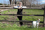 Molly Reynolds, owner of  Red Raven Dressage in Pawling, New York     May 5, 2014. Reynolds breeds Pura Rasa Espanola horses  for dressage.