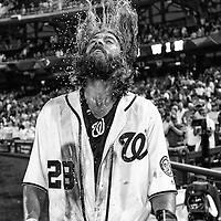 15 June 2016:  Washington Nationals left fielder Jayson Werth (28) flips his hair after getting doused with liquid after his walk off RBI single against the Chicago Cubs at Nationals Park in Washington, D.C. where the Washington Nationals defeated the Chicago Cubs, 5-4 in twelve innings. (Photograph by Mark Goldman/Icon Sportswire)