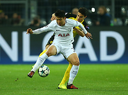 November 21, 2017 - Dortmund, Germany - Tottenham Hotspur's Son Heung-Min holds of Marc Bartra of Borussia Dortmundduring UEFA Champion  League Group H Borussia Dortmund between Tottenham Hotspur played at Westfalenstadion, Dortmund, Germany 21 Nov 2017  (Credit Image: © Kieran Galvin/NurPhoto via ZUMA Press)