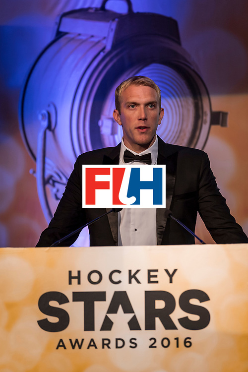 CHANDIGARH, INDIA - FEBRUARY 23: Winner of the FIH Male Goal Keeper of the Year David Harte of Ireland speaks during the FIH Hockey Stars Awards 2016 at Lalit Hotel on February 23, 2017 in Chandigarh, India. (Photo by Ali Bharmal/Getty Images for FIH)