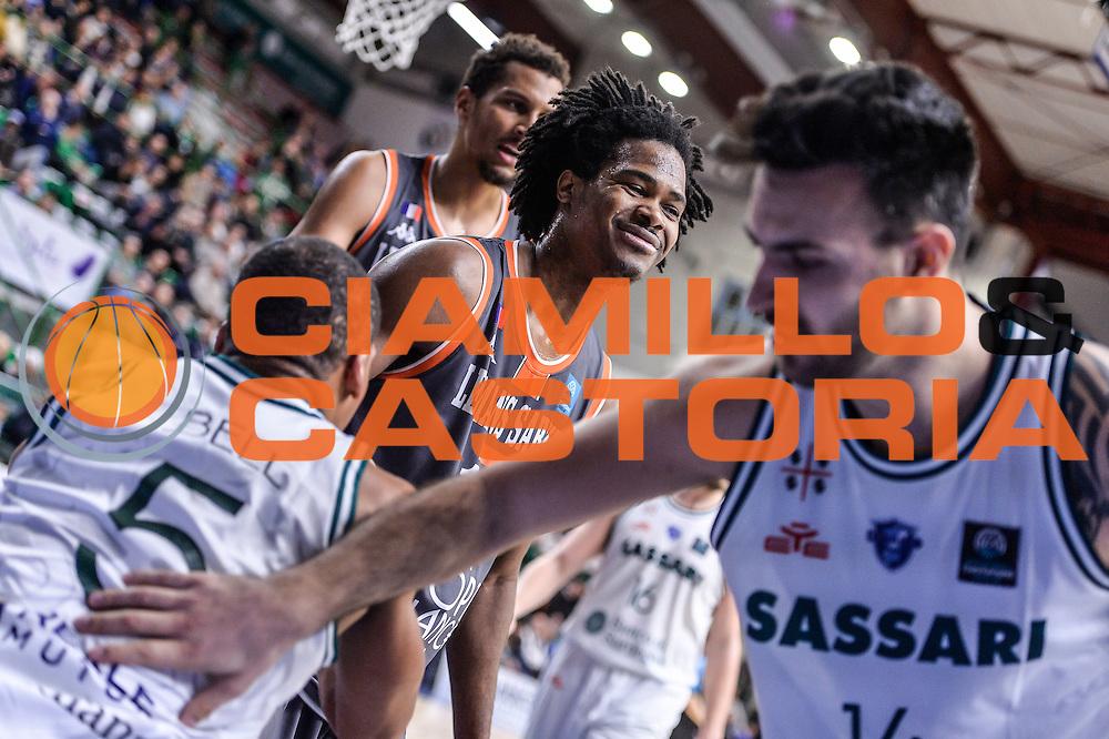 David Bell, Mickael Gelabale<br /> Banco di Sardegna Dinamo Sassari - Le Mans Sarthe<br /> FIBA Basketball Champions League 2016/2017<br /> Ottavi di Finale<br /> Sassari 01/03/2017<br /> Foto Ciamillo-Castoria