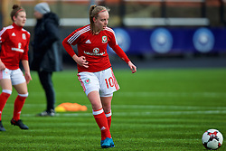 MERTHYR, WALES - Thursday, February 16, 2017: Wales' Emily Poole warms-up ahead of the Women's Under-17's International Friendly match against Hungary at Penydarren Park. (Pic by Laura Malkin/Propaganda)
