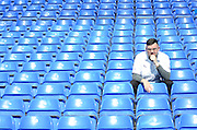 A lonely fan during the Barclays Premier League match between Tottenham Hotspur and Crystal Palace at White Hart Lane, London, England on 20 September 2015. Photo by Alan Franklin.