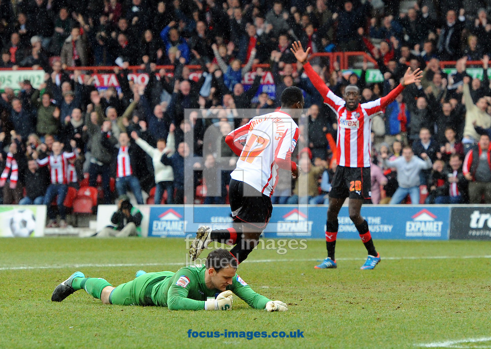 Picture by Matt Crossick/Focus Images Ltd +44 7711 374584.13/04/2013.Bradley Wright Phillips celebrates scoring for Brentford during the npower League 1 match at Griffin Park, London.
