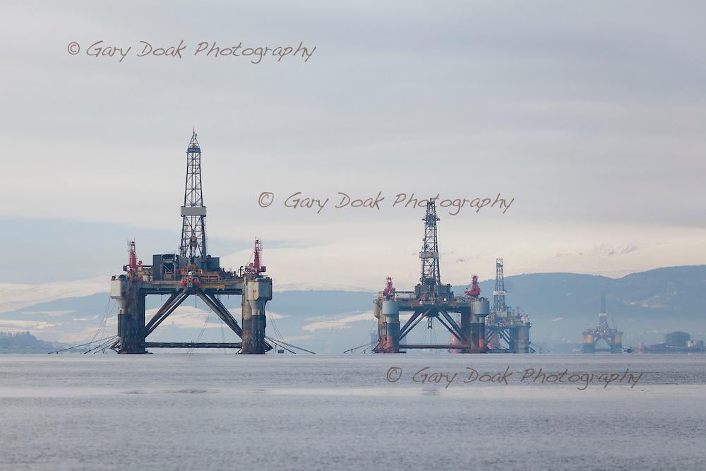 Oil rigs in the Cromarty Firth, Scotland