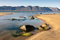 Hvestusandur shore by Fremri - Hvesta. West fiords of Iceland.Við fjöruna í Fremri-Hvestu - Hvestusand í Arnarfirði. Í baksýn er Dragagil, Bauluhúsahyrna, Grenjahyrna og Grjótskálahorn.