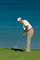 Tiger Woods puts onto the green of hole eight of day one of practices at the PGA championship at Whistling Straits Monday Aug. 9, 2004 Sheboygan Wi.     Photo Darren Hauck....................