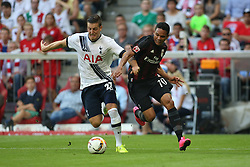 05.08.2015, Allianz Arena, Muenchen, GER, AUDI CUP, AC Milan vs Tottenham Hotspur, im Bild Kevin Wimmer (Tottenham Hotspur #27) im Zweikampf gegen Carlos Bacca (AC Mailand #70) // during the 2015 Audi Cup Match between AC Milan and Tottenham Hotspur at the Allianz Arena in Muenchen, Germany on 2015/08/05. EXPA Pictures © 2015, PhotoCredit: EXPA/ Eibner-Pressefoto/ Schüler<br /> <br /> *****ATTENTION - OUT of GER*****
