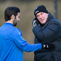St Johnstone boss Tommy Wright pictured in training this morning talking with Simon Lappin ahead of the New Years Day game against Aberdeen...30.12.14<br /> Picture by Graeme Hart.<br /> Copyright Perthshire Picture Agency<br /> Tel: 01738 623350  Mobile: 07990 594431