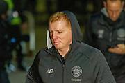 Celtic Manager Neil Lennon arrives at Celtic park ahead of  the Europa League match between Celtic and Rennes at Celtic Park, Glasgow, Scotland on 28 November 2019.