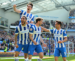 Dale Stephens ( 2nd R ) of Brighton & Hove Albion celebrates after he scores to make it 1-0 - Mandatory by-line: Paul Terry/JMP - 02/04/2016 - FOOTBALL - Amex Stadium - Brighton, England - Brighton and Hove Albion v Burnley - Sky Bet Championship
