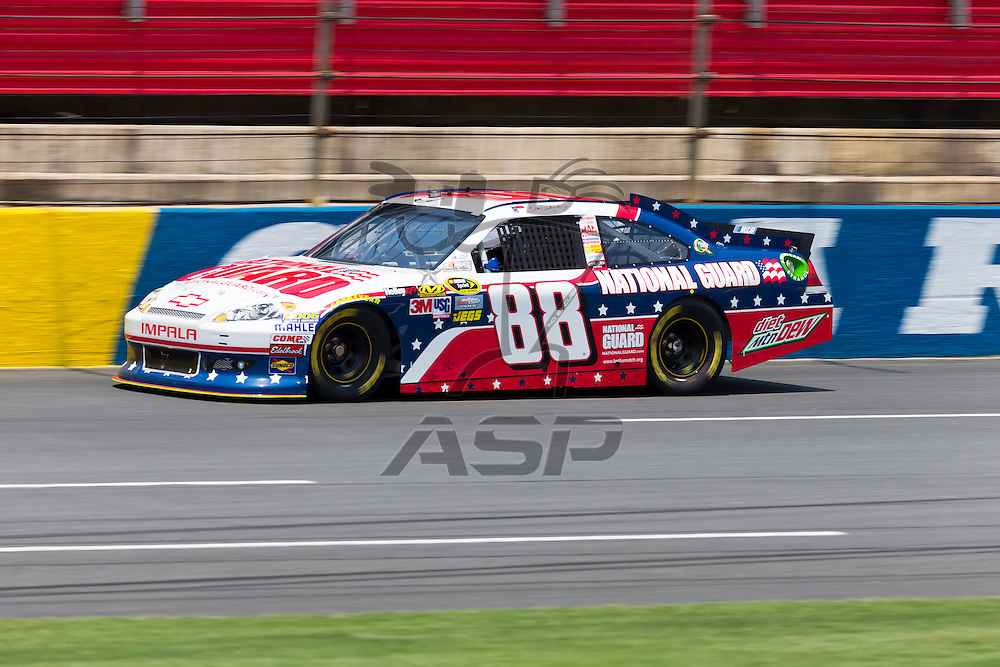 CONCORD, NC - MAY 26, 2012:  Dale Earnhardt, Jr. (88) brings his National Guard Chevrolet on the track for a practice session for the Coca-Cola 600 at the Charlotte Motor Speedway in Concord, NC.
