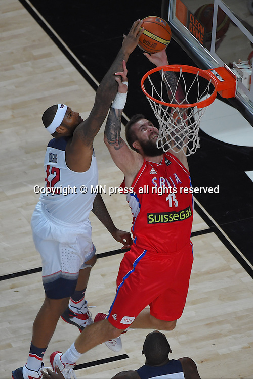 DEMARCUS COUSINS of United states of America basketball team in action during Final FIBA World cup match against MIROSLAV RADULJICA of Serbia, Madrid, Spain Photo: MN PRESS PHOTO<br /> Basketball, Serbia, United states of America, Final, FIBA World cup Spain 2014