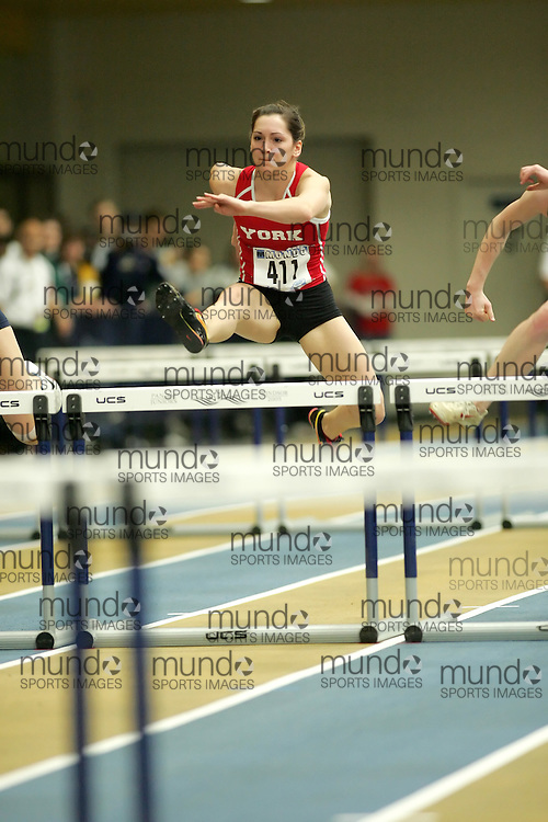 (Windsor, Ontario---11 March 2010) Danielle Villalta of York University Yoemen competes in the  competes in the pentathlon 60m hurdles at the 2010 Canadian Interuniversity Sport Track and Field Championships at the St. Denis Center. Photograph copyright Sean Burges/Mundo Sport Images. www.mundosportimages.com