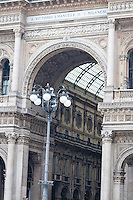 Milan, Italy. Detail of the stonework on the entrance to the Galleria.
