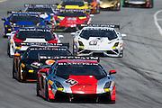 May 2-4, 2014: Laguna Seca Raceway. Race start for round 4 at Laguna Seca with #14 Andrew Palmer, GMG Racing, Lamborghini of Beverly Hills