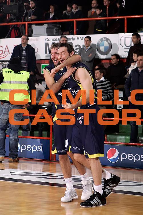 DESCRIZIONE : Caserta Lega A 2009-10 Pepsi Caserta Sigma Coatings Montegranaro<br /> GIOCATORE : Daniele Cavaliero Dimitrios Tsaldaris<br /> SQUADRA : Sigma Coatings Montegranaro<br /> EVENTO : Campionato Lega A 2009-2010 <br /> GARA : Pepsi Caserta Sigma Coatings Montegranaro<br /> DATA : 07/02/2010<br /> CATEGORIA : esultanza<br /> SPORT : Pallacanestro <br /> AUTORE : Agenzia Ciamillo-Castoria/A.De Lise<br /> Galleria : Lega Basket A 2009-2010 <br /> Fotonotizia : Caserta Campionato Italiano Lega A 2009-2010 Pepsi Caserta Sigma Coatings Montegranaro<br /> Predefinita :