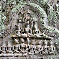 Carving at Ta Prohm in Angkor Archaeological Park, Cambodia	<br />