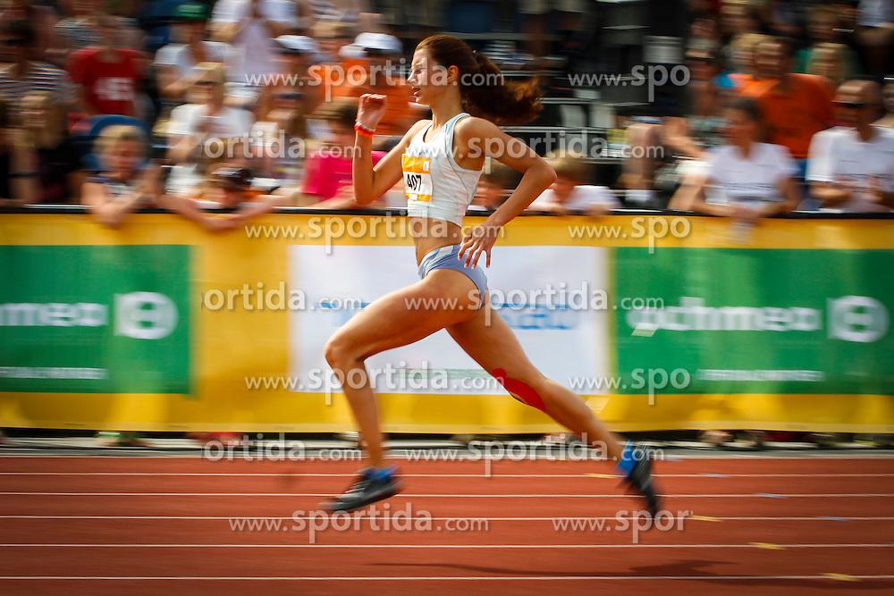 Urska Dobersek competing in 200 m heats at 12th European Youth Olympic Summer Festival in Utrecht, Netherlands on July 17, 2013 in Utrecht, Netherland. (Photo by Peter Kastelic / Sportida.com)