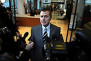 19/03/2010 British Airways CEO Willie Walsh leaves a press conference at the TUC offices in Great Russell Street after talks with the Unite Union, representing cabin crew, break down failing to prevent a strike which will start tomorrow. ..