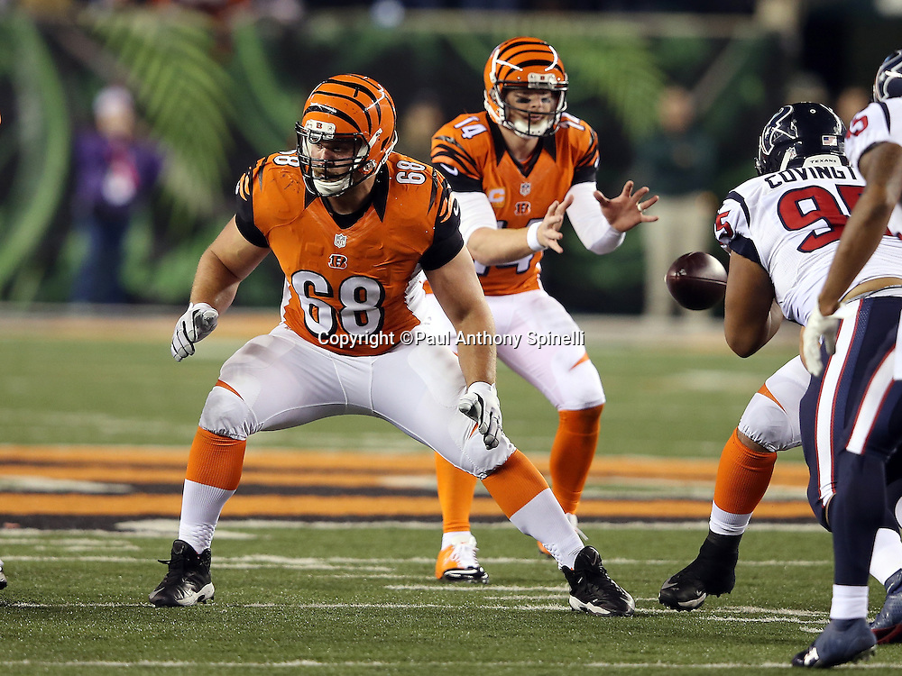 Cincinnati Bengals guard Kevin Zeitler (68) pass blocks during the 2015 week 10 regular season NFL football game against the Houston Texans on Monday, Nov. 16, 2015 in Cincinnati. The Texans won the game 10-6. (©Paul Anthony Spinelli)