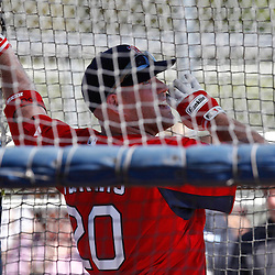 February 19, 2011; Fort Myers, FL, USA; Boston Red Sox first baseman Kevin Youkilis (20) in batting practice during spring training at the Player Development Complex.  Mandatory Credit: Derick E. Hingle