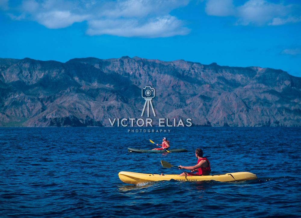 Sea kayaking in Loreto.<br /> Baja California Sur, Mexico.
