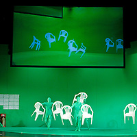 Picture shows : Stagehands dressed in green are hidden due to the 'green screen'..Picture  ©  Drew Farrell Tel : 07721 -735041..A new Scottish Opera production of  Rossini's 'The Italian Girl in Algiers' opens at The Theatre Royal Glasgow on Wednesday 21st October 2009..(Soap) opera as you've never seen it before.Tonight on Algiers.....Colin McColl's cheeky take on Rossini's comic opera is a riot of bunny girls, beach balls, and small screen heroes with big screen egos. Set in a TV studio during the filming of popular Latino soap, Algiers, the show pits Rossini's typically playful and lyrical music against the shoreline shenanigans of cast and crew. You'd think the scandal would be confined to the outrageous storylines, but there's as much action off set as there is on.... .Italian bass Tiziano Bracci makes his UK debut in the role of Mustafa. Scottish mezzo-soprano Karen Cargill, who the Guardian called a 'bright star' for her performance as Rosina in Scottish Opera's 2007 production of The Barber of Seville, sings Isabella. .Cast .Mustafa...Tiziano Bracci.Isabella..Karen Cargill.Lindoro...Thomas Walker.Elvira...Mary O'Sullivan.Zulma...Julia Riley.Haly...Paul Carey Jones.Taddeo...Adrian Powter. .Conductors.Wyn Davies.Derek Clarke (Nov 14). .Director by Colin McColl.Set and Lighting Designer by Tony Rabbit.Costume Designer by Nic Smillie..New co-production with New Zealand Opera.Production supported by.The Scottish Opera Syndicate.Sung in Italian with English supertitles..Performances.Theatre Royal, Glasgow - October 21, 25,29,31..Eden Court, Inverness - November 7. .His Majesty's Theatre, Aberdeen  - November 14..Festival Theatre,Edinburgh - November 21, 25, 27 ...Note to Editors:  This image is free to be used editorially in the promotion of Scottish Opera. Without prejudice ALL other licences without prior consent will be deemed a breach of copyright under the 1988. Copyright Design and Patents Act  and will be subject to payment or legal action, where appropriat