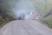 2019-05-16   Jämshög , Sverige:  Car on fire in the forest near Jämshög town. The fire spread to the nearby vegetation. (Photo by: Simon Nilsson   Swe Press Photo)<br /> <br /> Keywords: Fire, Firefighter, Forest, Jämshög, Olofström, Sweden, car