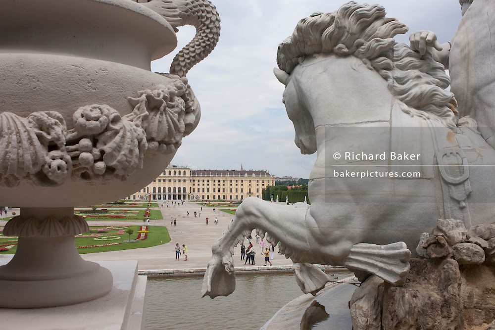 Features of the Neptune Fountain at Schloss Schonbrunn, in Vienna, Austria, EU.