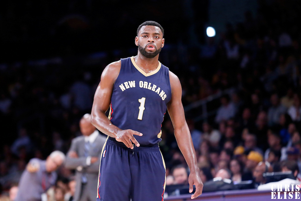 01 April 2015: New Orleans Pelicans guard Tyreke Evans (1) rests during the New Orleans Pelicans 113-92 victory over the Los Angeles Lakers , at the Staples Center, Los Angeles, California, USA.