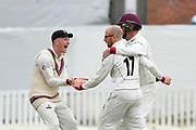 Wicket - Jack Leach of Somerset celebrates taking the wicket of Sam Robson of Middlesex during the Specsavers County Champ Div 1 match between Somerset County Cricket Club and Middlesex County Cricket Club at the Cooper Associates County Ground, Taunton, United Kingdom on 27 September 2017. Photo by Graham Hunt.