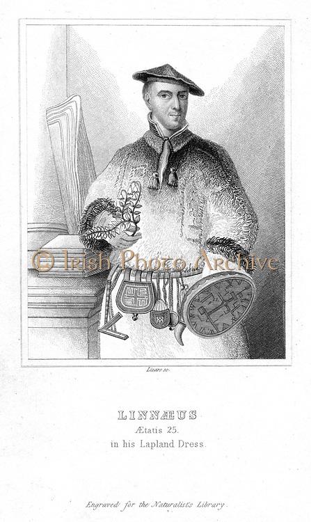 Linnaeus  (Carl von Linne - 1707-1778) aged 25 in Lapland dress. Swedish naturalist.  Engraving