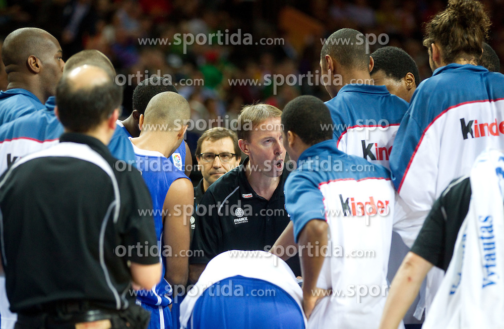 Vincent Collet, head coach of France during final basketball game between National basketball teams of Spain and France at FIBA Europe Eurobasket Lithuania 2011, on September 18, 2011, in Arena Zalgirio, Kaunas, Lithuania. (Photo by Vid Ponikvar / Sportida)