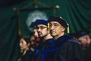 David Bayless, <br /> Loehr Professor of Mechanical Engineering, listens to the undergraduate commencement address. Photo by Ben Siegel