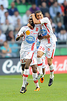 FOOTBALL - FRENCH CHAMPIONSHIP 2010/2011 - L1 - STADE RENNAIS v AS NANCY - 21/05/2011 - PHOTO PASCAL ALLEE / DPPI - JOY BAKAYE TRAORE (ASN) AFTER HIS GOAL. HE IS CONGRATULATED BY MICHAEL CHRETIEN