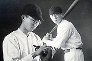 composite photo of baseball sports student Japan ca 1940s