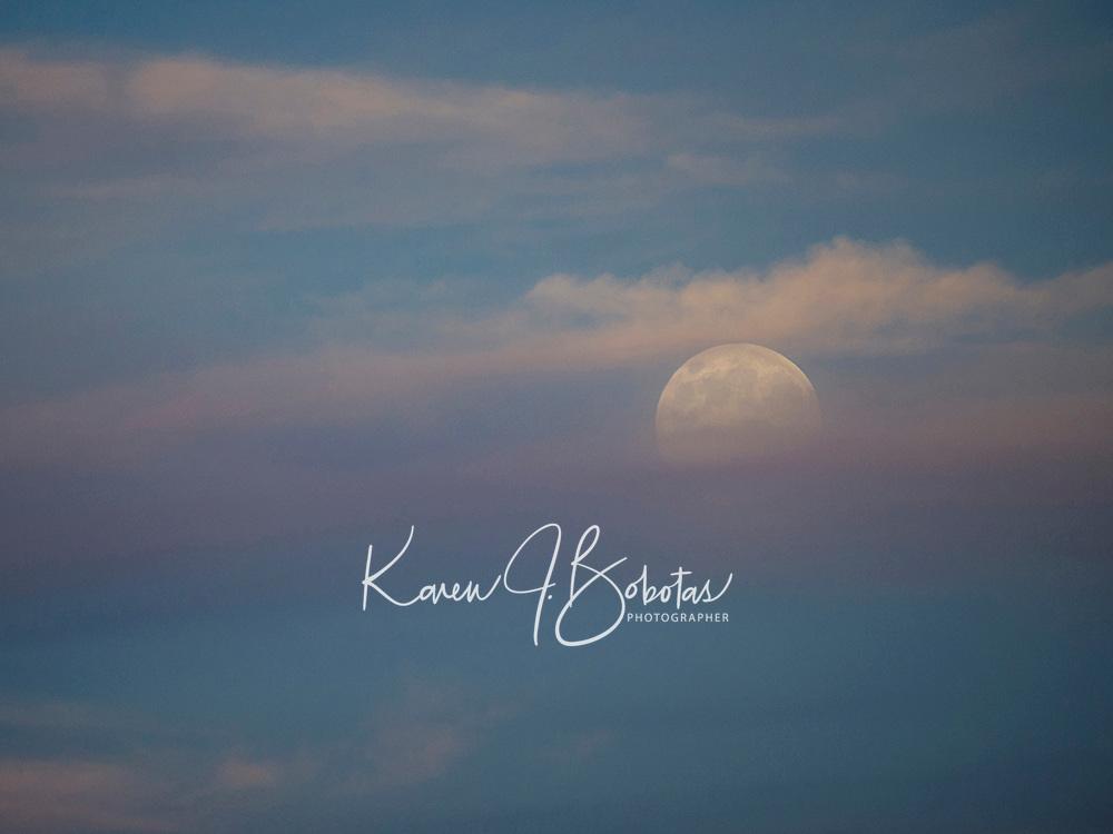 Spectacular full moon over Meredith Bay.  © Karen Bobotas