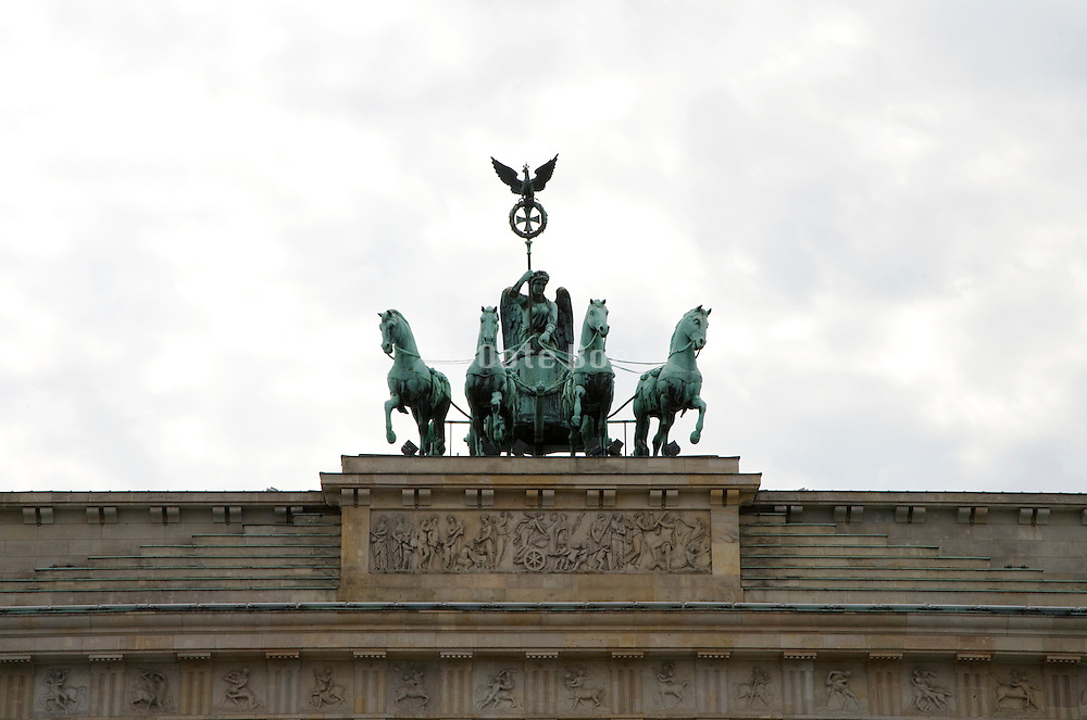 Quadriga statue on top of Brandenburg Gate, Germany, Berlin