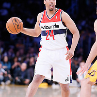 21 March 2014: Washington Wizards guard Andre Miller (24) looks to pass the ball during the Washington Wizards 117-107 victory over the Los Angeles Lakers at the Staples Center, Los Angeles, California, USA.