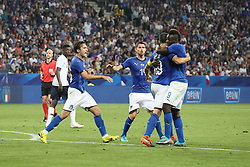 June 1, 2018 - Paris, Ile-de-France, France - Leonardo Bonucci (Italy)  celebrates after scoring with teammates during the friendly football match between France and Italy at Allianz Riviera stadium on June 01, 2018 in Nice, France..France won 3-1 over Italy. (Credit Image: © Massimiliano Ferraro/NurPhoto via ZUMA Press)