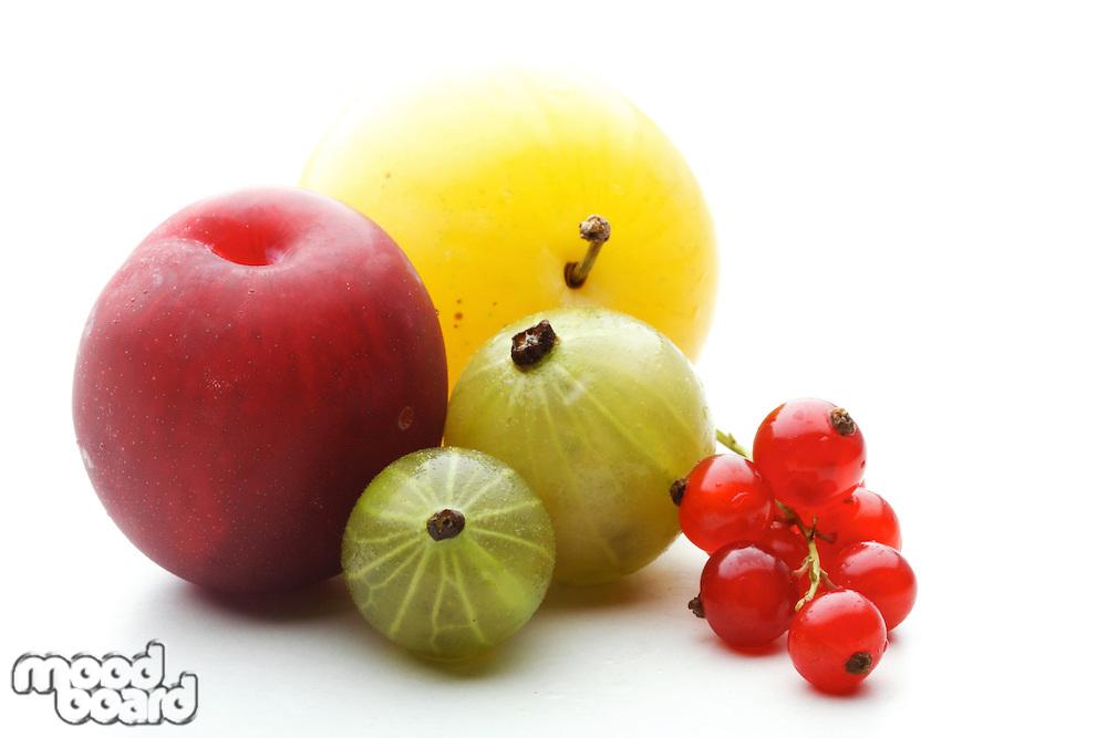 Close up of fruits on white backfground