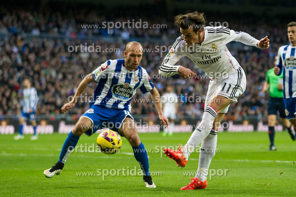 14.02.2015, Estadio Santiago Bernabeu, Madrid, ESP, Primera Division, Real Madrid vs Deportivo La Coruna, 23. Runde, im Bild Real Madrid&acute;s Gareth Bale and Deportivo de la Coruna's Laureano Sanabria Ruiz // during the Spanish Primera Division 23rd round match between Real Madrid vs Deportivo La Coruna at the Estadio Santiago Bernabeu in Madrid, Spain on 2015/02/14. EXPA Pictures &copy; 2015, PhotoCredit: EXPA/ Alterphotos/ Luis Fernandez<br /> <br /> *****ATTENTION - OUT of ESP, SUI*****
