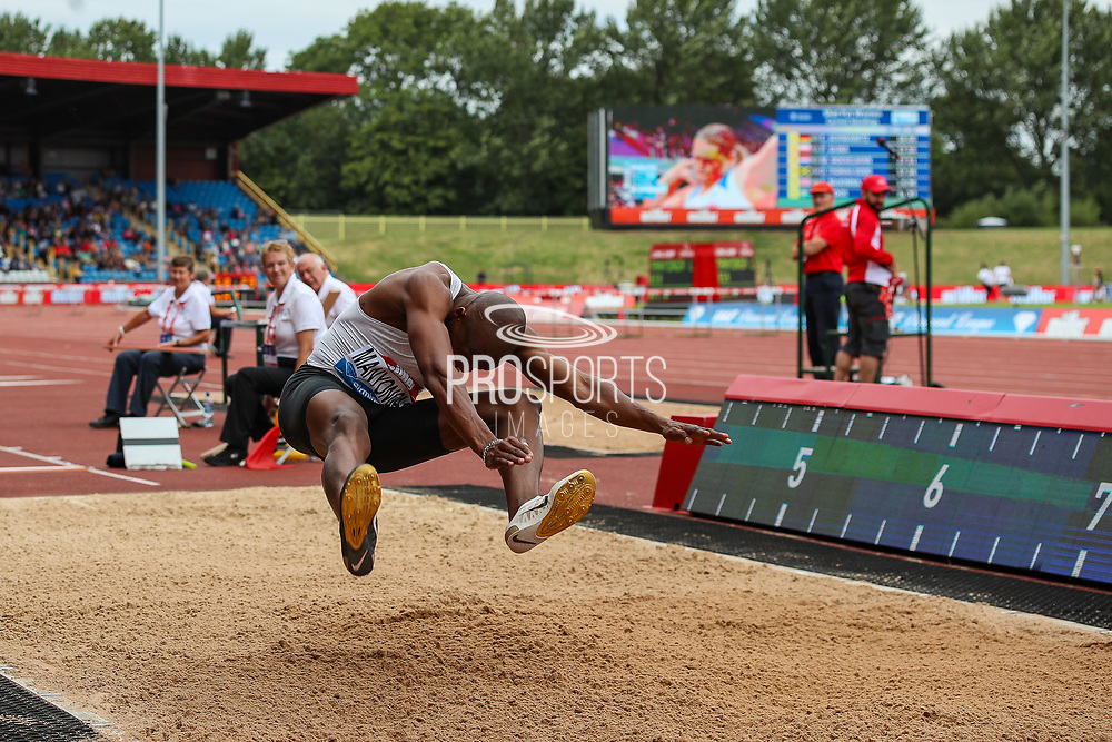 Luvo MANYONGA of South Africa, winner of the Men's Long Jump during the Muller Grand Prix 2018 at Alexander Stadium, Birmingham, United Kingdom on 18 August 2018. Picture by Toyin Oshodi.