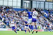 Kieffer Moore Rotherham challenges Sam Hird Chesterfield during the Pre-Season Friendly match between Chesterfield and Rotherham United at the b2net stadium, Chesterfield, England on 25 July 2017. Photo by Mick Haynes.